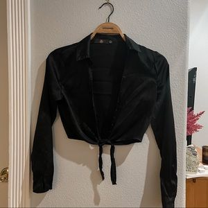 Missguided Black Satin Button Up Long sleeve